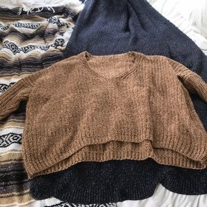 Sweaters - Chunky knit brown pullover sweater